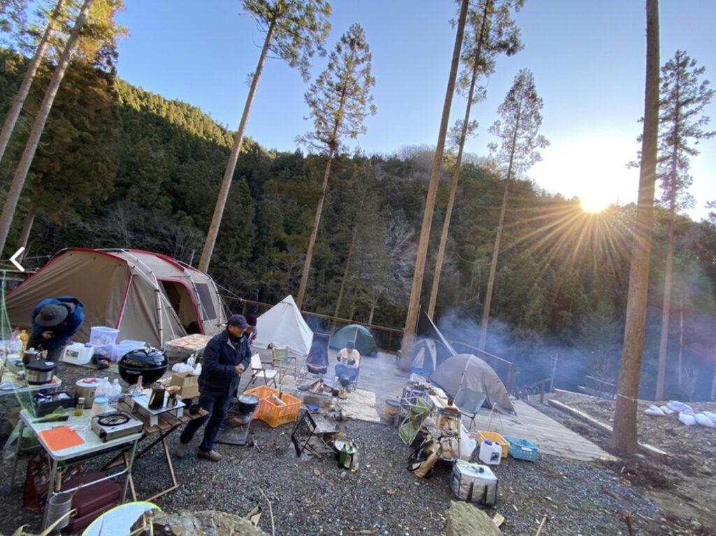 喜田川キャンピングベースのキャンプサイト